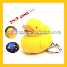 HT2080 Hot Sale Animal LED Light Duck Sound Key Ring