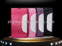 Hot Selling Glitter Wallet Crystal Crocodile Leather Case For Iphone 5s