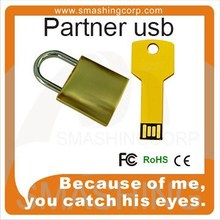 Fashion Portable partner /lovers gifts lock shape Metal USB Flash Drive on Top Sale