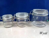 100ml 250ml 550ml glass storage jar with clamp lid glass jars with metal clip SLJe147