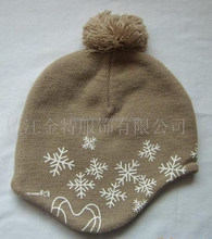 knitted winter warm acrylic printed lady earflap