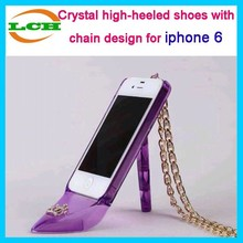 Crystal high-heeled shoes with chain shoulder strap design tpu mobile phone cover case for iphone 6 6 plus