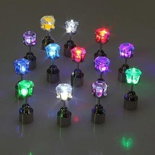 Party Favour Multi- Color Glowing In Dark Crown Shape LED Crystal Earrings