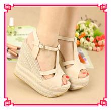 cheap lady platforms sandal fashionable women wedge shoes high heel shoes