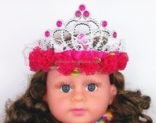 children party favor products fabric flower plastic tiaras headbands princess girl hair ornaments from manufacturer