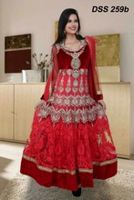 Red And Pink Heavy Stone Work Anarkali Suit