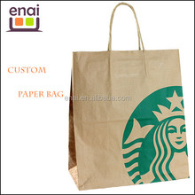 ECO and reusable for take away fast food packaging kraft paper bag with tiwst paper handle