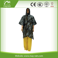 High Quality Camouflage Color Popyester rain poncho for men