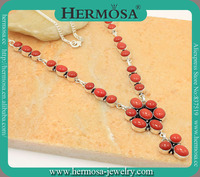 HERMOSA JEWELRY Natural Red Coral Fashion 925 Sterling Silver Xmas Gift Chain Necklace GM1637
