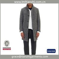 China Supplier Wholesale 2015 Fashion Design New Spring/Winter Men Grey Medium Long Oversize Warm Wool Jacket trench coat