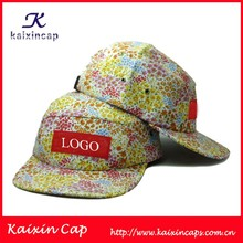 custom design your own 5 panel hat cap/floral printed 5 panel hat with woven lable patch logo wholesale
