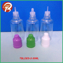 30ml plastic bottles with child resistant cap for e liquid oil