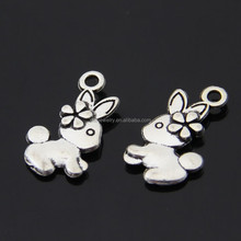 rabbit Antique Silver style charm vintage bronze chunky snap charm