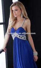 2013 estilo halter v- cuello de encaje con lentejuelas elgantprecio azul vestido de fiesta vestido de noche
