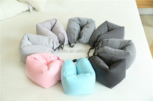 OEM service customize geometric printed foldable beads neck message knitting cotton bolster neck pillow with buckle