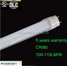 CE ROHS 2-3 years warranty AC100-240V 277V clear/transparent/milky cover t8 led light tube 120cm warm color 2700-3000K
