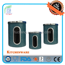 LFGB type tea/coffee/sugar stainless steel metal canister set with s/s lid and body in blue &white stone coating