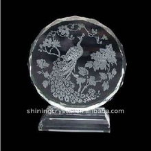 sparking laser etched crystal photo- peacock