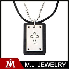 men's stainless steel dotted cross top with black leather pendant with chain necklace jewelry