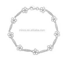 Diamond Accent Flower Bracelet for Lady Whosale America Best Selling Jewelry