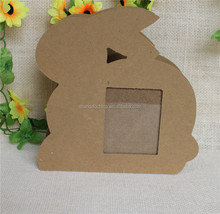 Rabbit shaped two side use decor MDF photo frame with pen holder