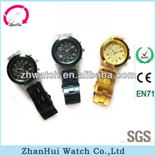 Big face six hands quartz with stainless steel strap 2011 hot selling mens watch