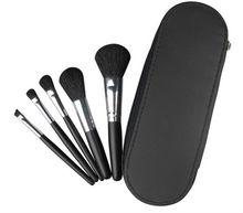 portátil maquillaje pincel de pelo de cabra 5 piezas Set juegos de herramientas de maquillaje negro con bolsa de maquillaje
