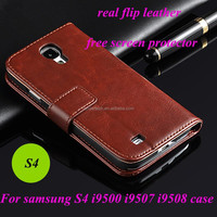 Wallet stand real leather flip cell phone case for samsung s4 i9500/9507/9508