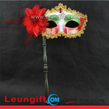 Halloween carnival big rhinestone half face mask with stick