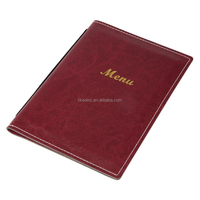 Restaurant Imitation Leather Menu Covers Burgundy A5 With Clear inside Pocket