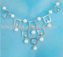 elegante colar de pérolas da senhora nupcial da pérola colar de corrente de projeto
