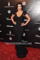 Kim Kardashian 2012 Golden Globes After Party Black Lace Evening Dresses