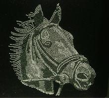 Horse Face Western Rhinestone Transfer Iron On Hot Fix Heat Transfer Motif Bling Applique - DIY