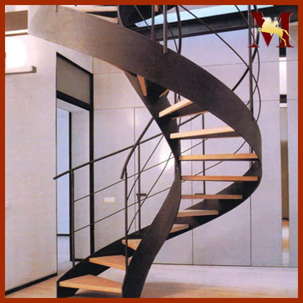 Luxury double curved staircase curved stair cantilevered for Double curved staircase