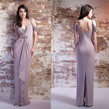 New Arrival V-neckline Low Back Ruffle Beaded Jersey Sex Mother of the Bride Dress
