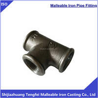 Malleable Iron Pipe Fittings BS Thread Black Beaded Tee 130
