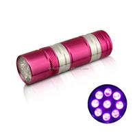 Mini Aluminum Alloy 395NM Blacklight Led uv Torch Light uv pet Urine Detector 9 Led uv Torch
