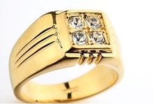 2015 Hot Sale Men Gold Plated Ring Italina Design Jewelry Inlay Male Engagement Ring