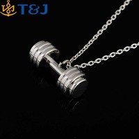 >>>2016 Trendy Gym Necklace Alloy Gym Jewelry Men Biker Necklace Sports Pendant Punk Rock Barbell Pendant/