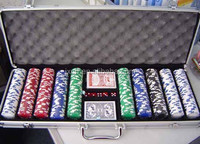 500pcs poker chips blank or with hot stamp and poker accessories and aluminum cosmetic case in one set