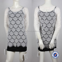 OEM high quality clothing manufacturers lace hollow out long sleeve see through blouse cover up