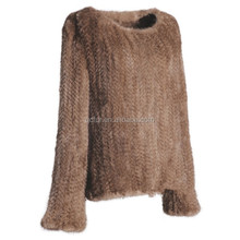 QC6191 new European style natural real brown mink fur knit pullover coat
