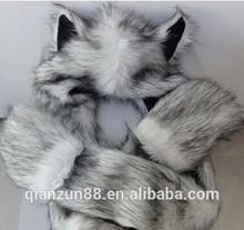 Wholesale Wolf Animal Hood Hat/Faux Fur Wolf Head Hat
