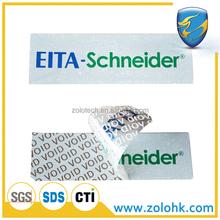 Tamper evident security labels, low residue adhesive label, transparent PET material