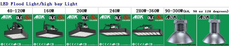 UL DLC TUV SAA 30-500w Meanwell driver LED High Bay Light With Philips Chip, 5 Years Warranty High Bay Light