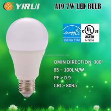 brightness led bulb 7W E26 E27 energy star and Cul certificate