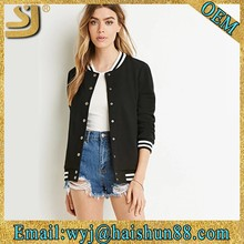 Breathable knitted snap button varsity casual wear for teenagers jacket