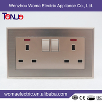 High Quality Factory Price British Style 2 gang 13A switched socket with light