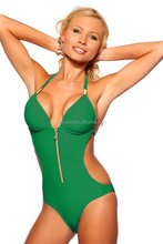 Factory Wholesale zipper Swimwear 2015 sexy one piece bathing suits