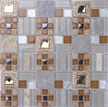 Home Decorative Tile Crystal Glass fish mosaic tile pattern wall Tile NSG002